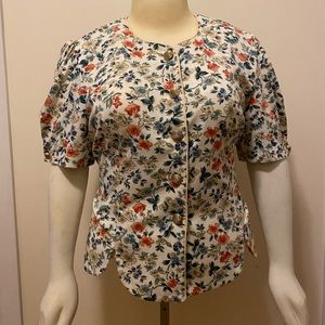Vintage button down flower peasant top shirt